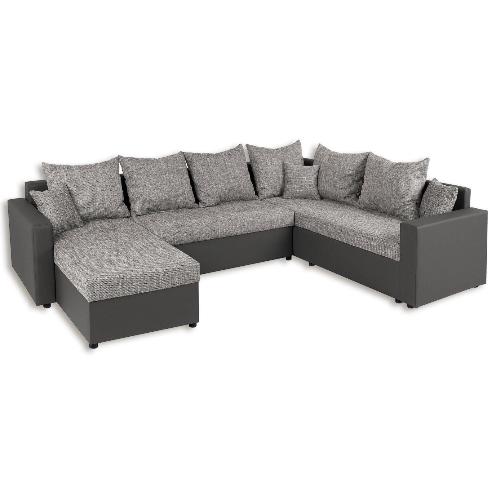 wohnlandschaft grau liegefunktion ebay. Black Bedroom Furniture Sets. Home Design Ideas