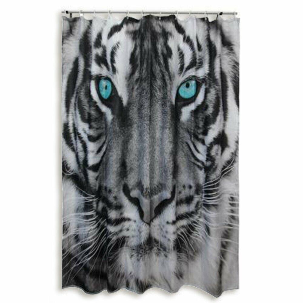 duschvorhang tiger schwarz wei 180x200 cm duschvorh nge rollos badezimmer. Black Bedroom Furniture Sets. Home Design Ideas