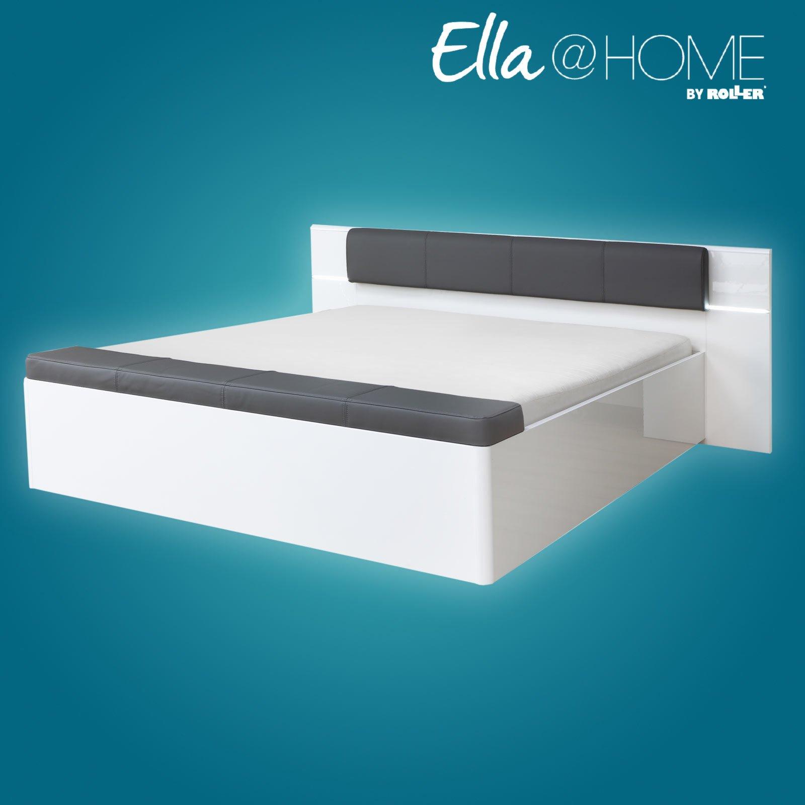bett palm beach grau wei hochglanz kunstleder. Black Bedroom Furniture Sets. Home Design Ideas