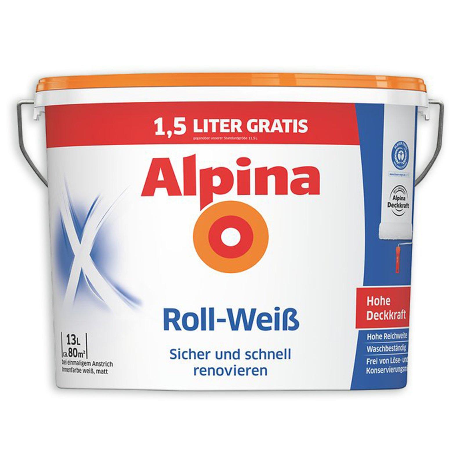alpina roll weiss innenfarbe 13 liter wei e. Black Bedroom Furniture Sets. Home Design Ideas
