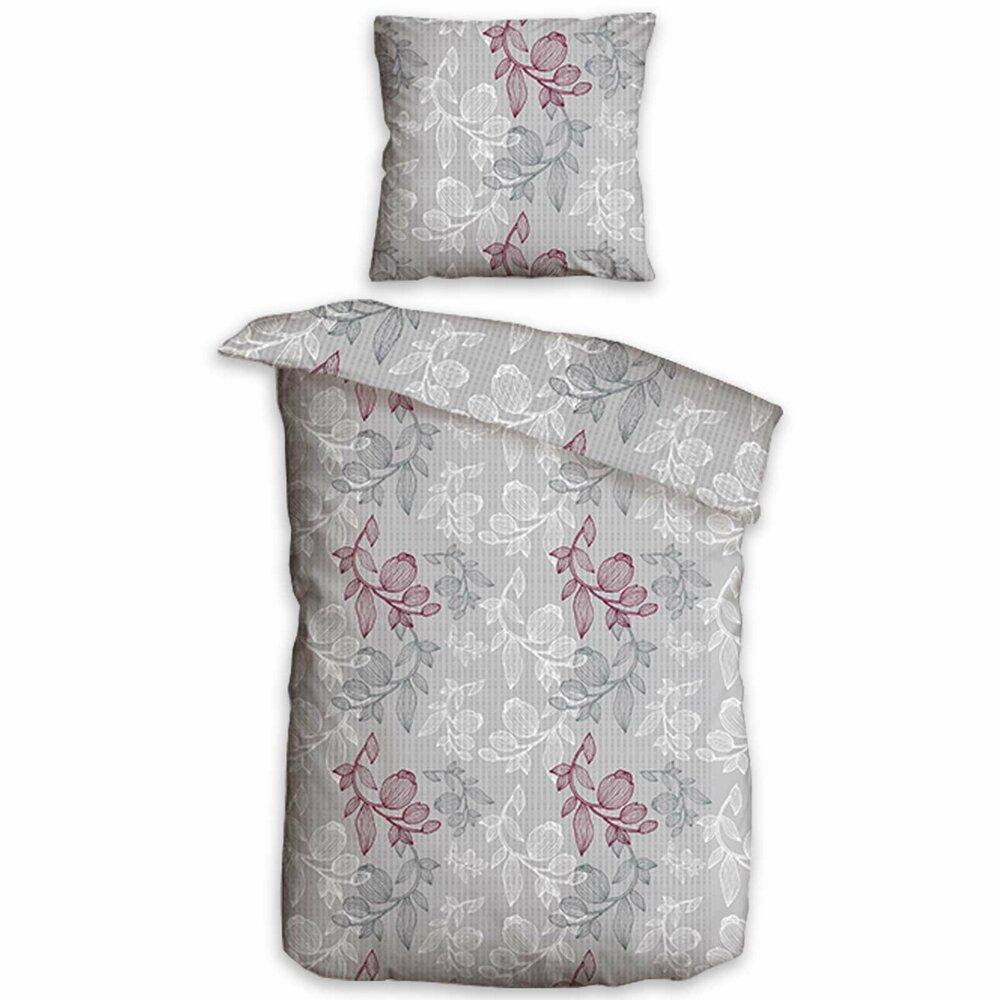microfaser seersucker bettw sche blume silber 155x220 cm bettw sche bettw sche. Black Bedroom Furniture Sets. Home Design Ideas