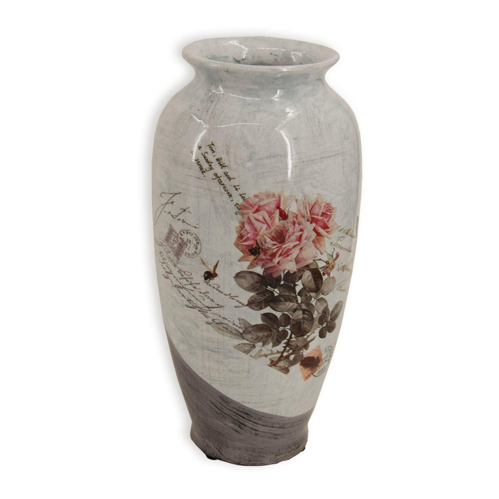 roller vase grau rosendekor 25 cm. Black Bedroom Furniture Sets. Home Design Ideas