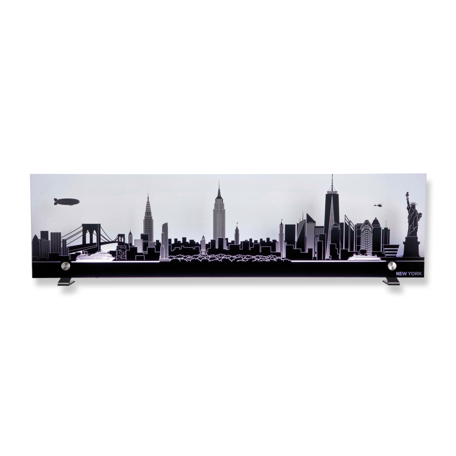 roller wandleuchte skyline new york glas anthrazit ebay. Black Bedroom Furniture Sets. Home Design Ideas