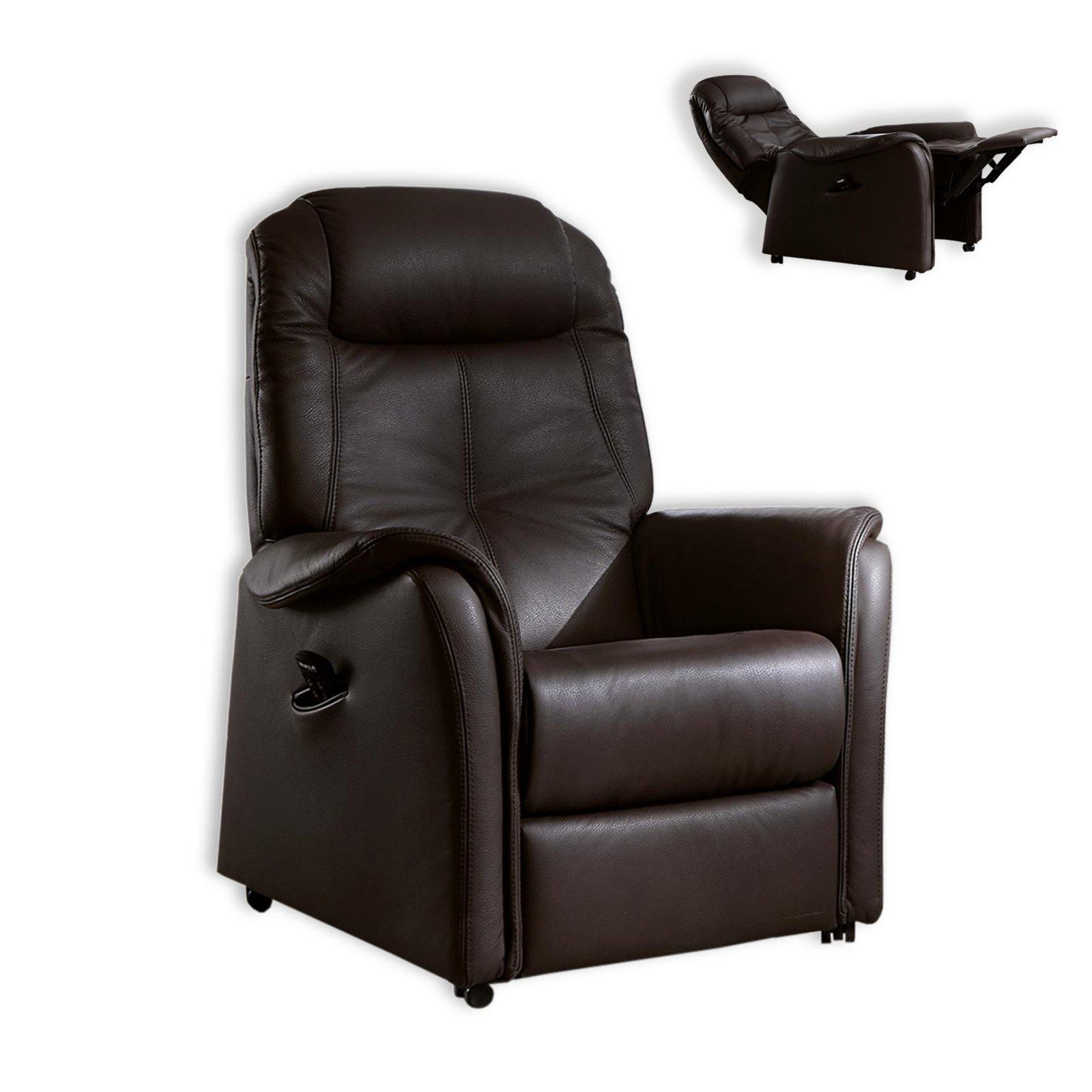tv ledersessel dunkelbraun funktionen mit motor. Black Bedroom Furniture Sets. Home Design Ideas