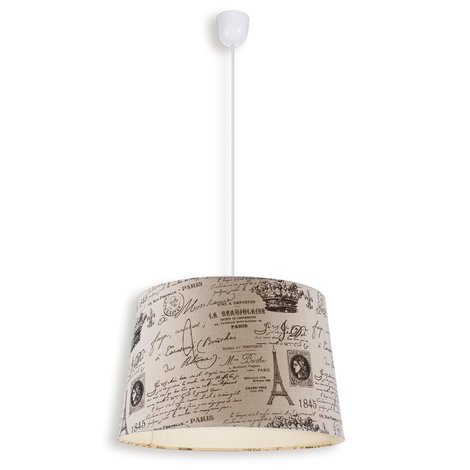 Pendelleuchte creme bedruckt stoffschirm for Lampen roller