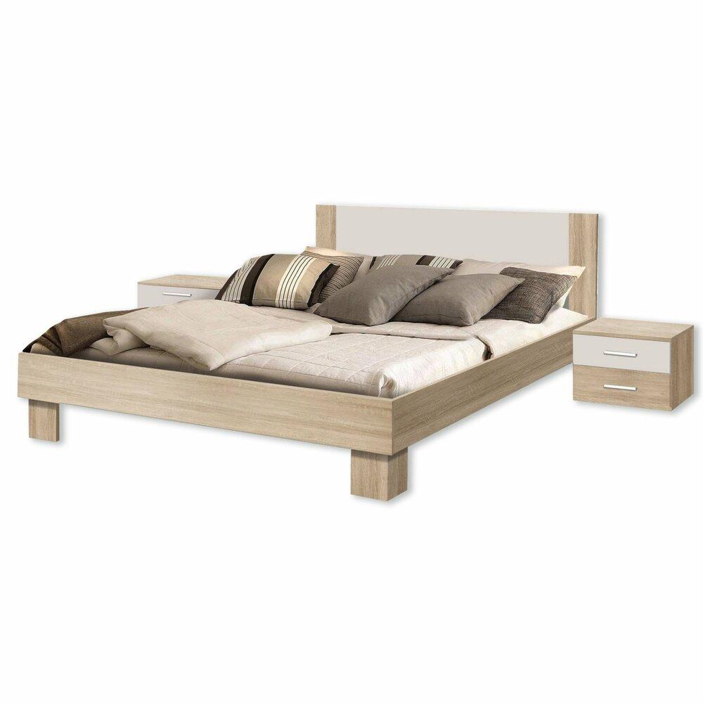 bettanlage helen sonoma eiche wei 180x200 cm bettgestelle betten m bel roller m belhaus. Black Bedroom Furniture Sets. Home Design Ideas