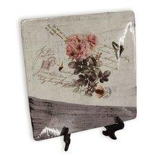 deko teller rosendekor keramik 15x15 cm - Buddha Deko Wohnzimmer