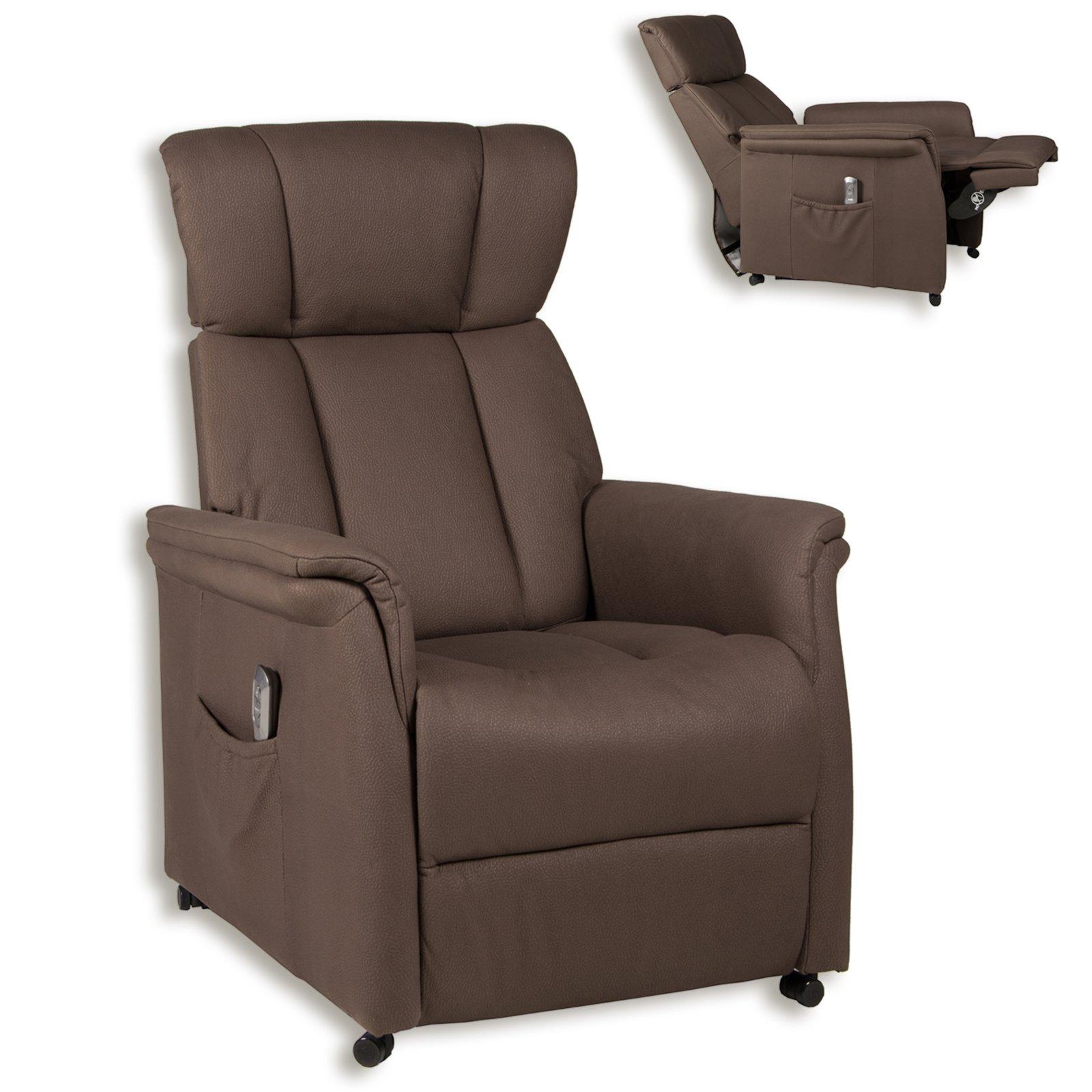 roller tv sessel braun microfaser motor und. Black Bedroom Furniture Sets. Home Design Ideas