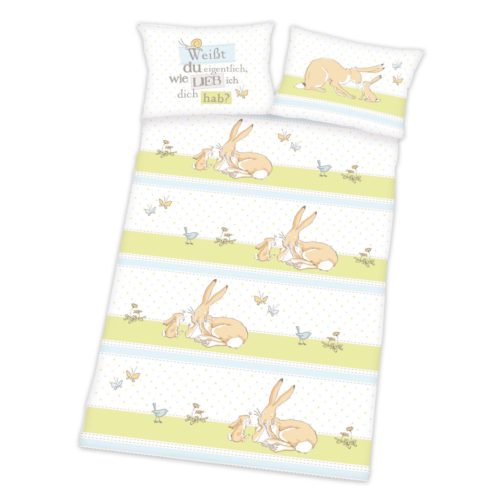 Baby Biber Bettwäsche Hase Wie Lieb Ich Dich Hab 100x135 Cm