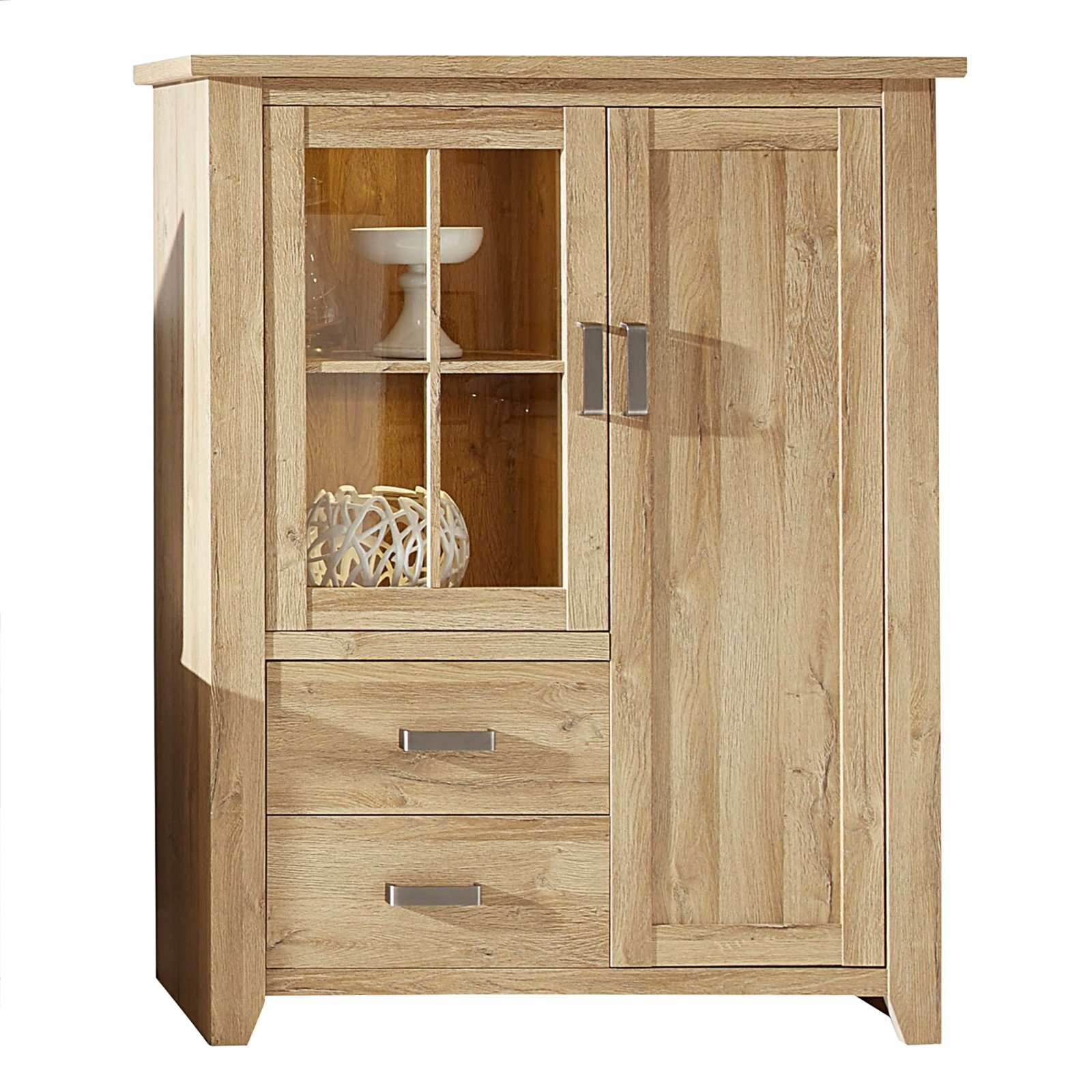 vitrine canyon alteiche 113x144 cm ebay. Black Bedroom Furniture Sets. Home Design Ideas
