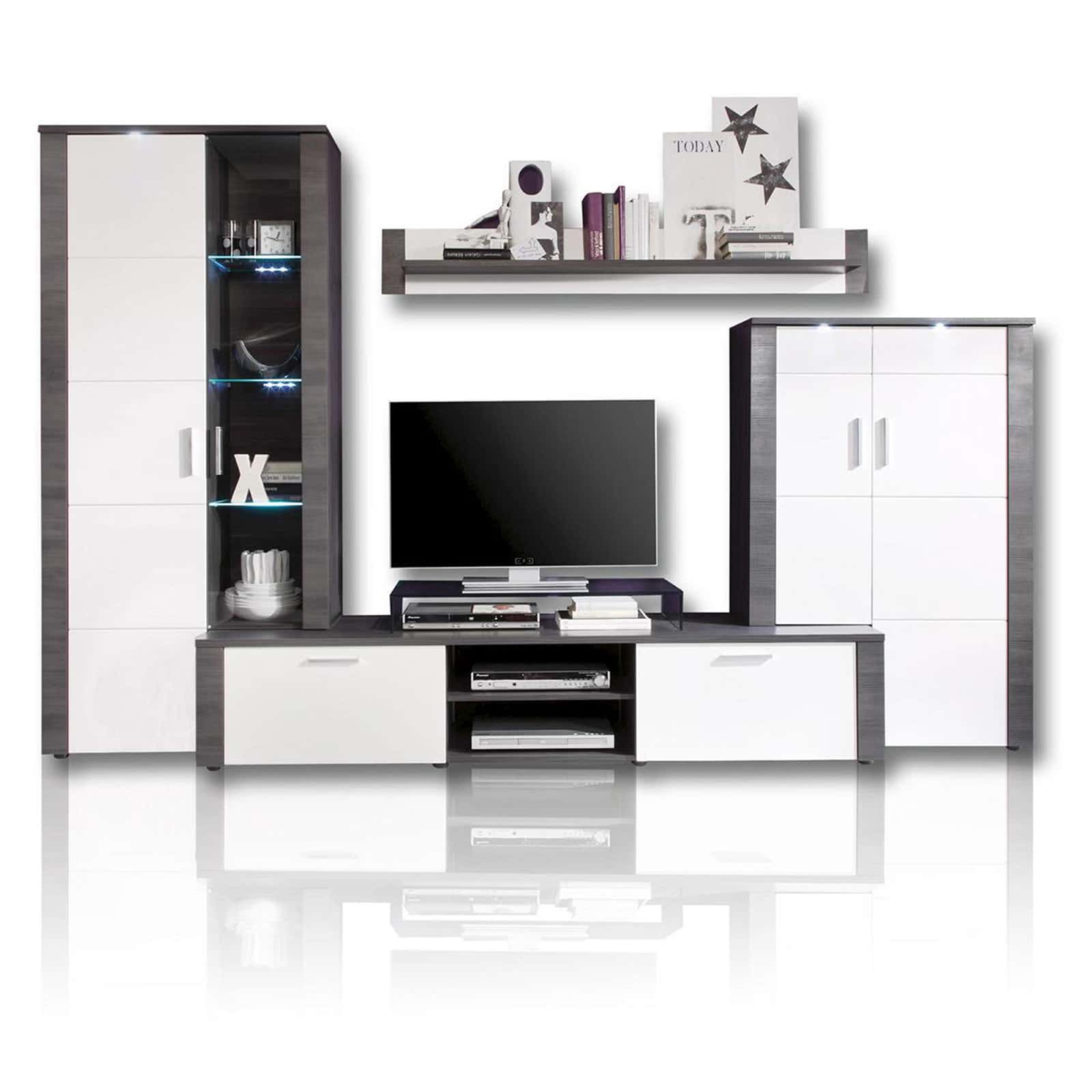 wohnwand xpress esche grau wei beleuchtung. Black Bedroom Furniture Sets. Home Design Ideas