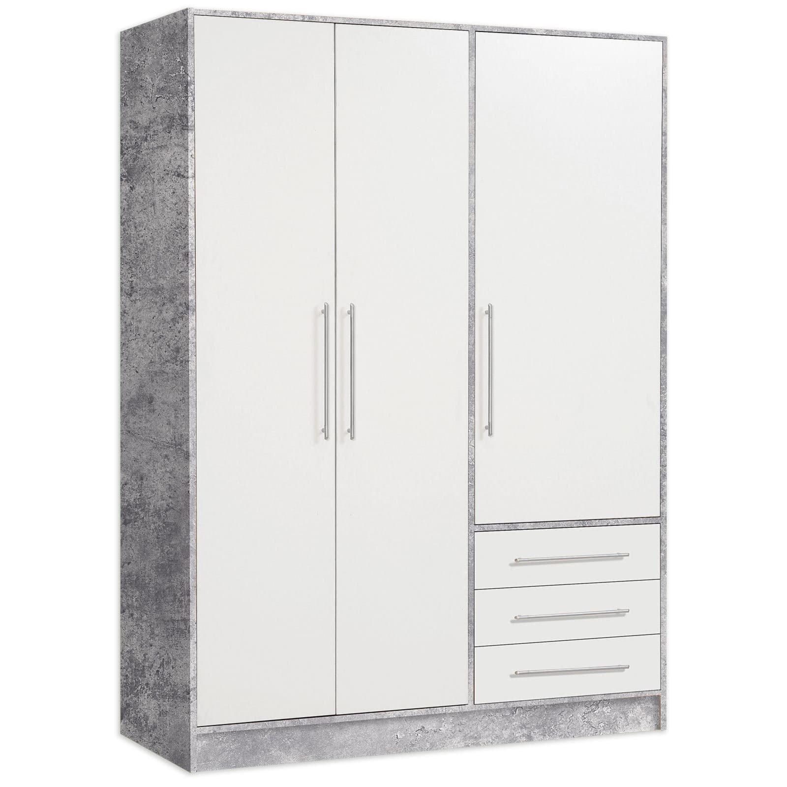 Kleiderschrank jupiter betonoptik wei 145 cm ebay - Kleiderschrank betonoptik ...