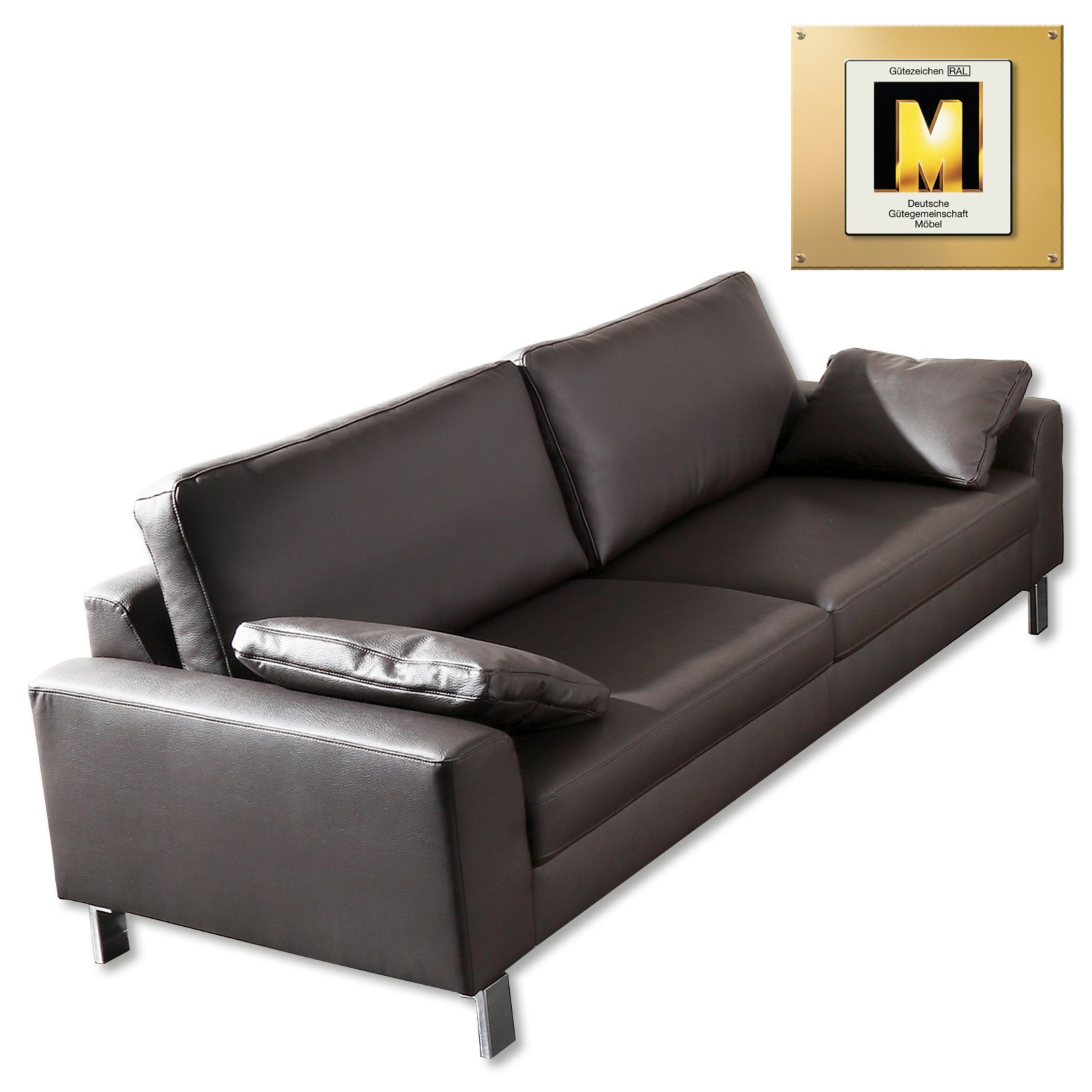 3 sitzer sofa braun inklusive r ckenkissen einzelsofas 2er 3er 4er sofas couches. Black Bedroom Furniture Sets. Home Design Ideas