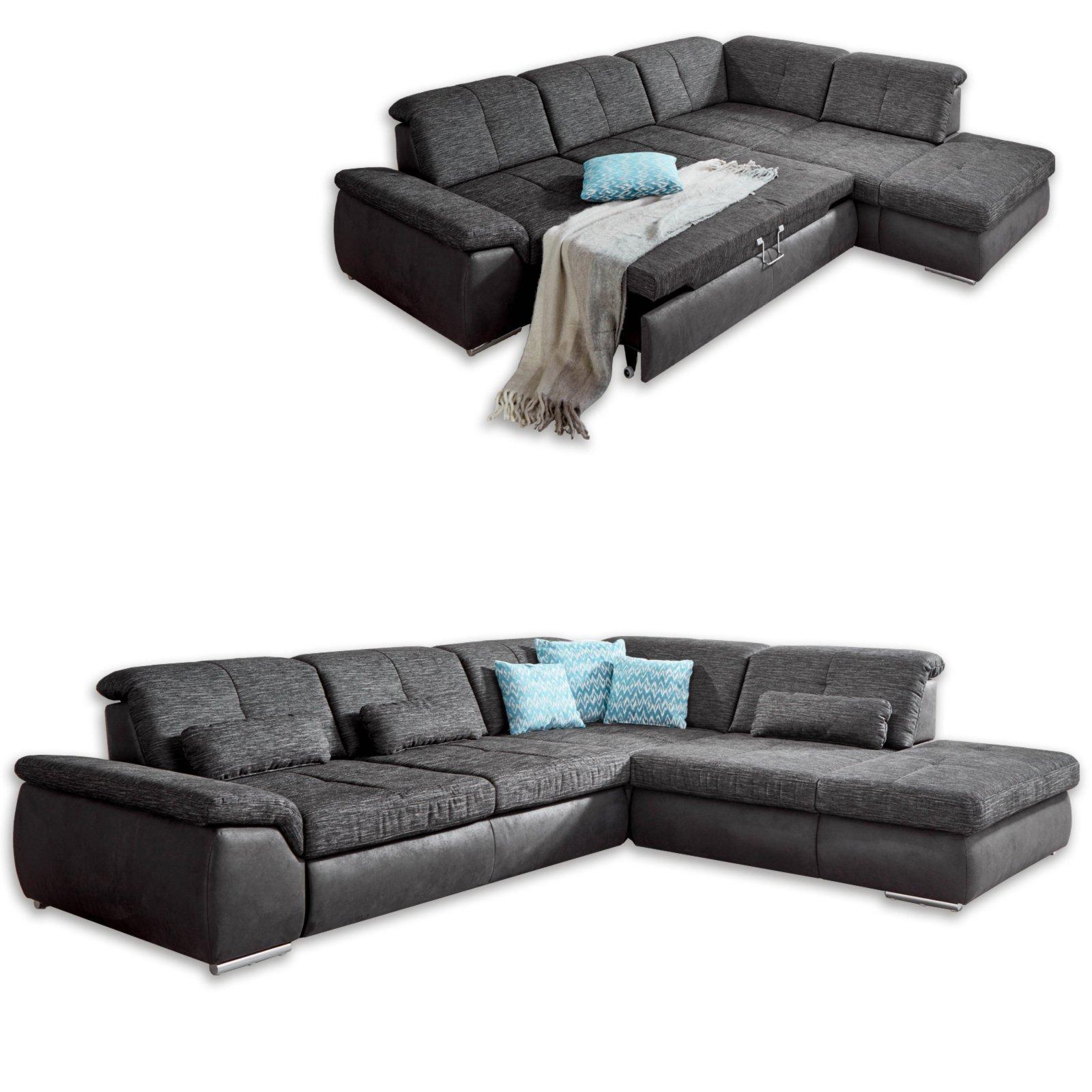 wohnlandschaft anthrazit schwarz liegefunktion ecksofas l form sofas couches m bel. Black Bedroom Furniture Sets. Home Design Ideas