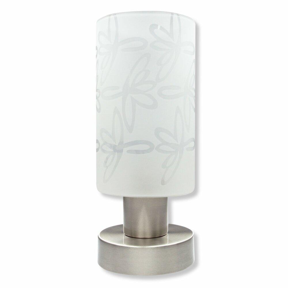 led tischlampe floraldekor nickel glas wei tischlampen lampen roller m belhaus. Black Bedroom Furniture Sets. Home Design Ideas
