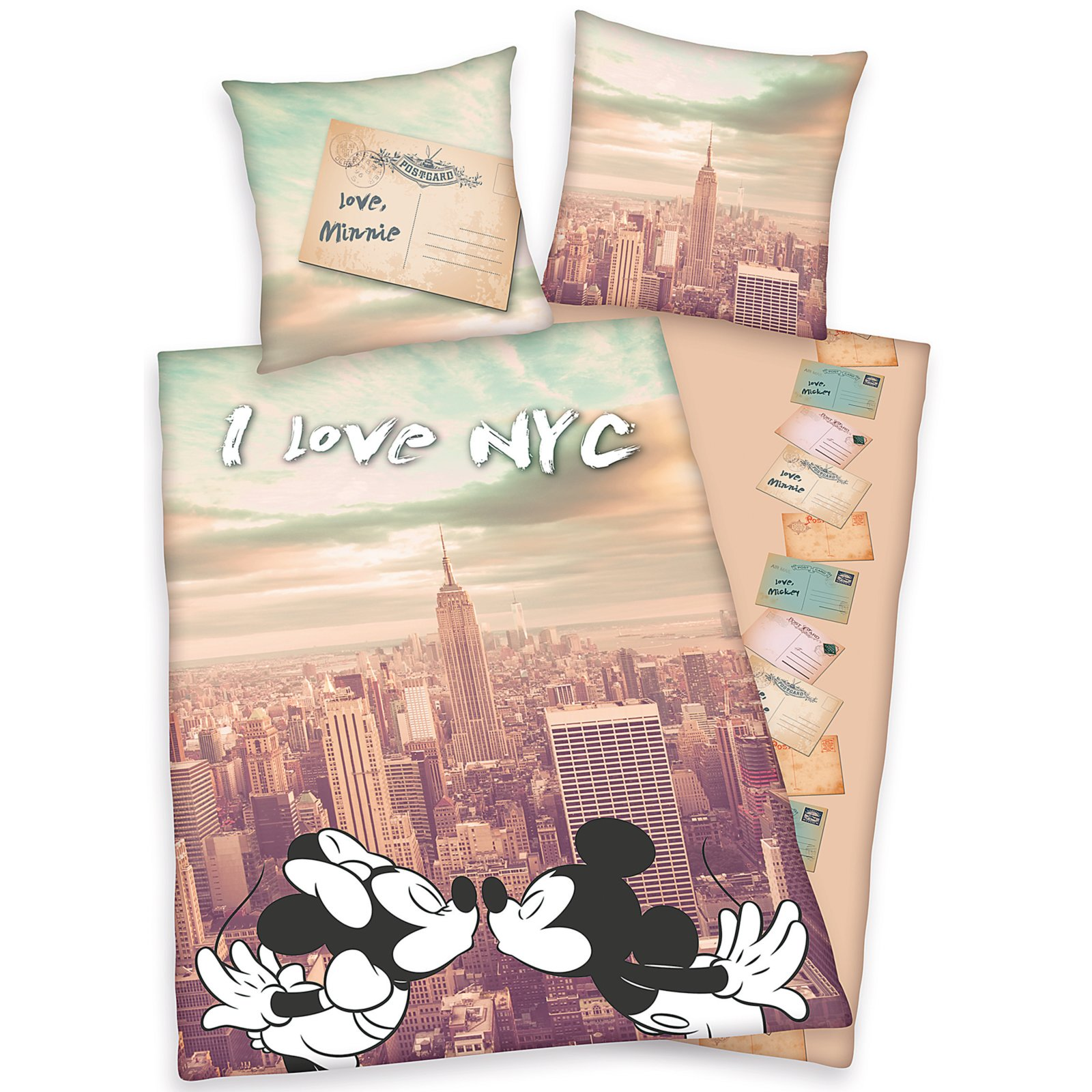 Microfaser Bettwäsche Mickey Minnie New York 135x200 Cm