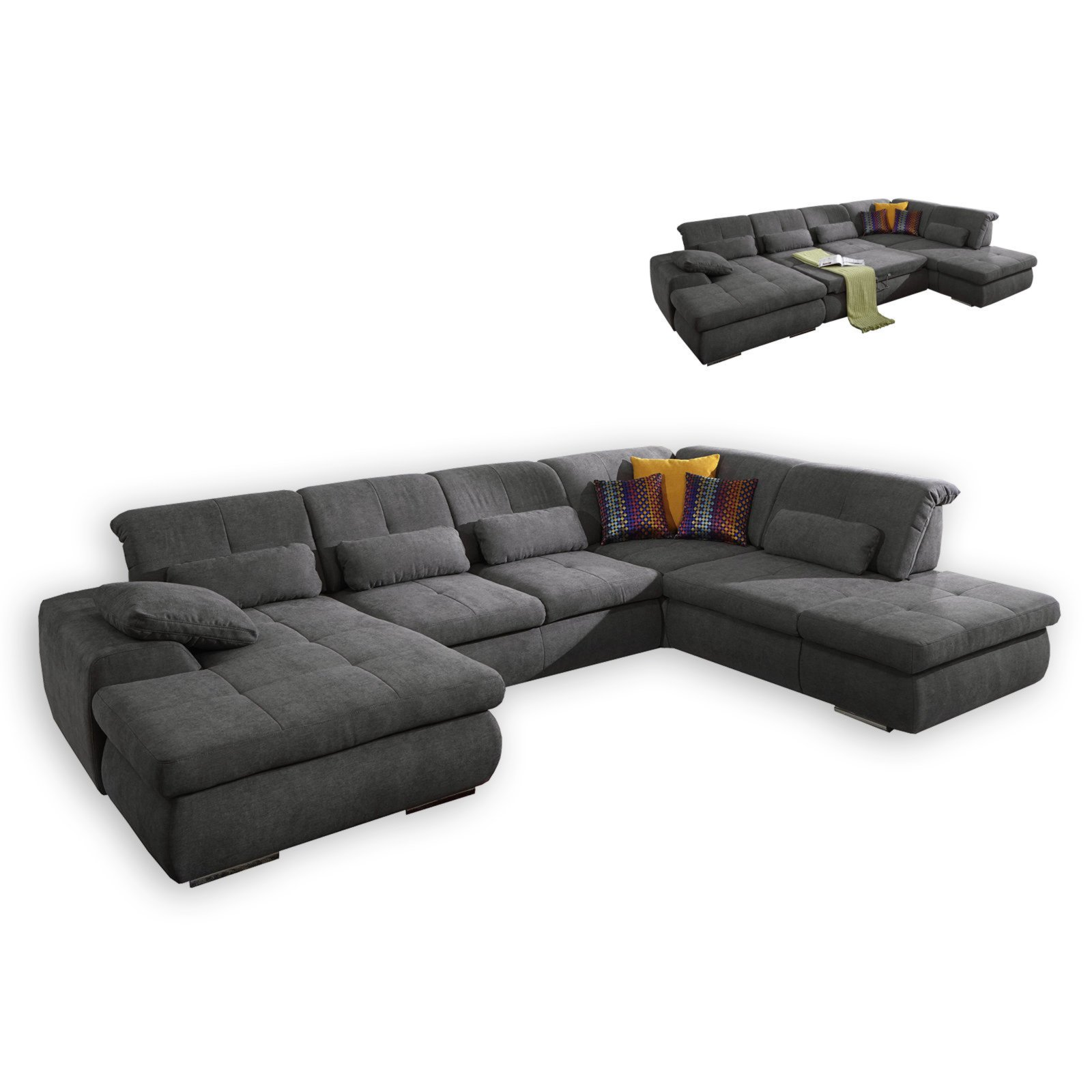 wohnlandschaft anthrazit mit liegefunktion wohnlandschaften u form sofas couches. Black Bedroom Furniture Sets. Home Design Ideas