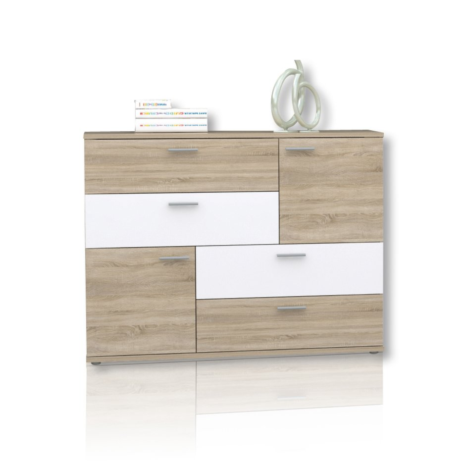 kommode skive sonoma eiche wei 125 cm kommoden sideboards m bel roller m belhaus. Black Bedroom Furniture Sets. Home Design Ideas