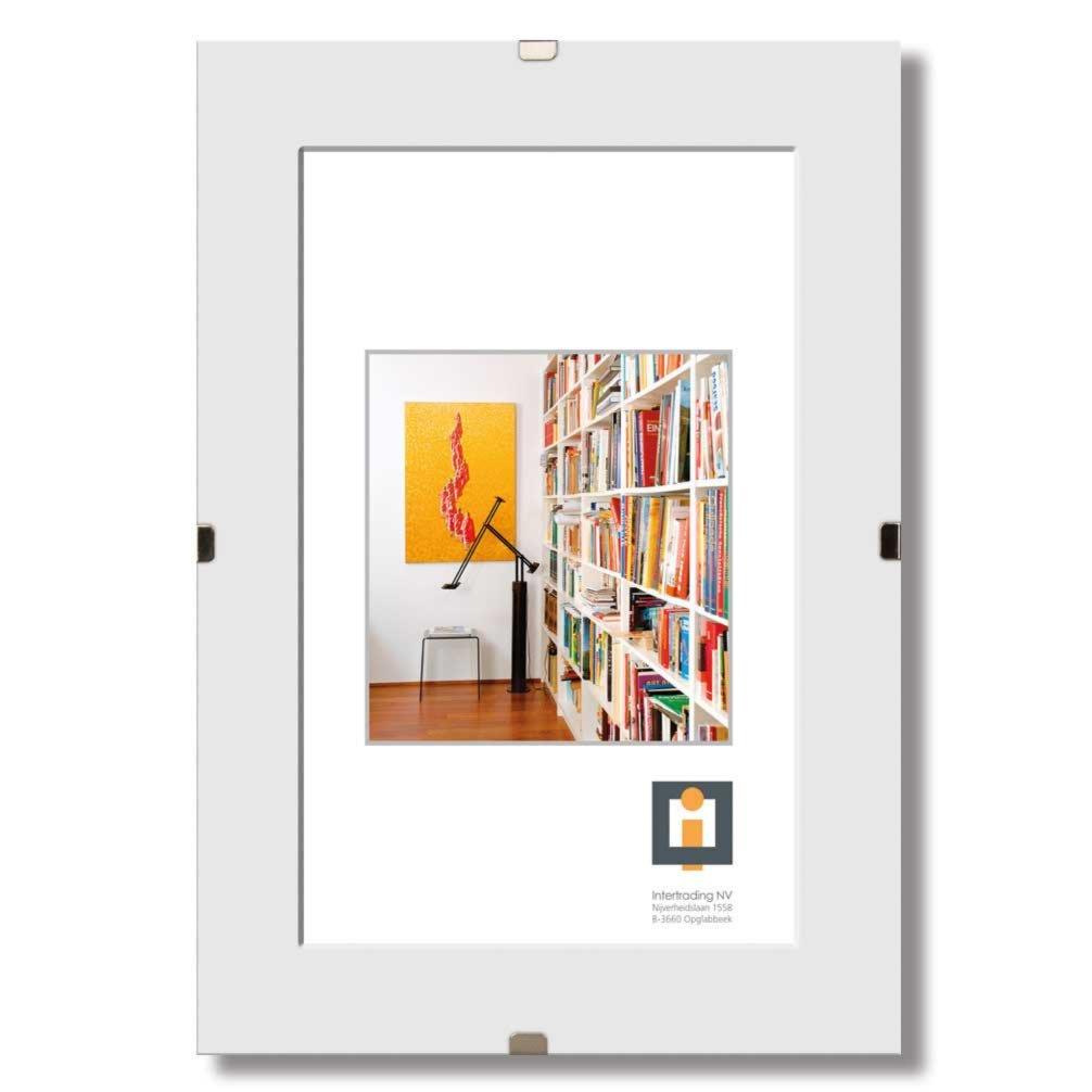 bildhalter clip wei glas rahmenlos 70x100 cm bilderrahmen dekoration deko. Black Bedroom Furniture Sets. Home Design Ideas