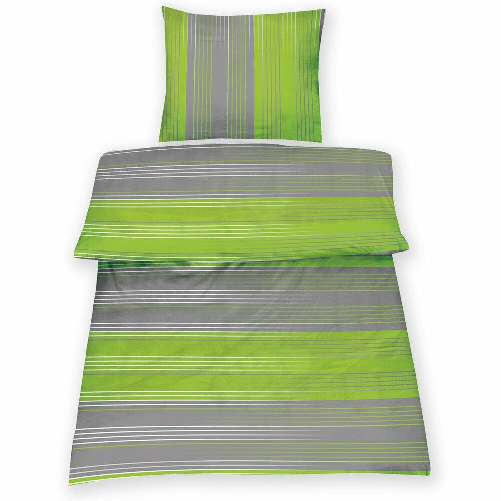 microfaser bettw sche tomke high class grau gr n 200x200 cm bettw sche bettw sche. Black Bedroom Furniture Sets. Home Design Ideas