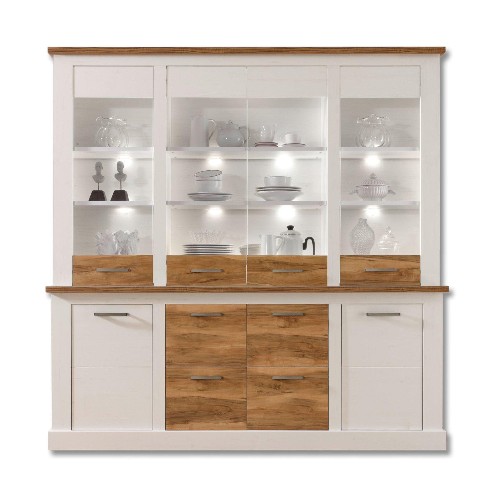 highboard toronto pinie hell satin nussbaum 210 cm breit kommoden sideboards m bel. Black Bedroom Furniture Sets. Home Design Ideas
