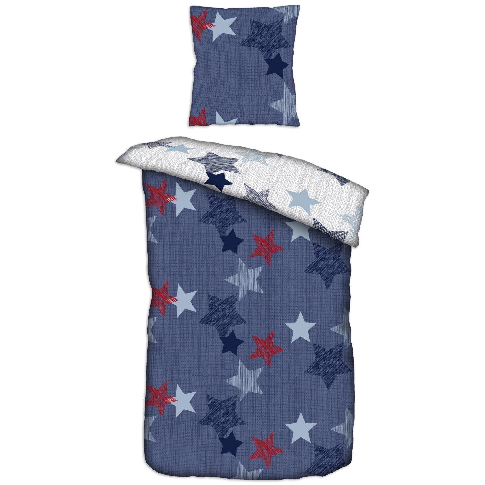 Homara Baumwoll Bettwäsche Blau Rot Sterne 135x200 Cm Online