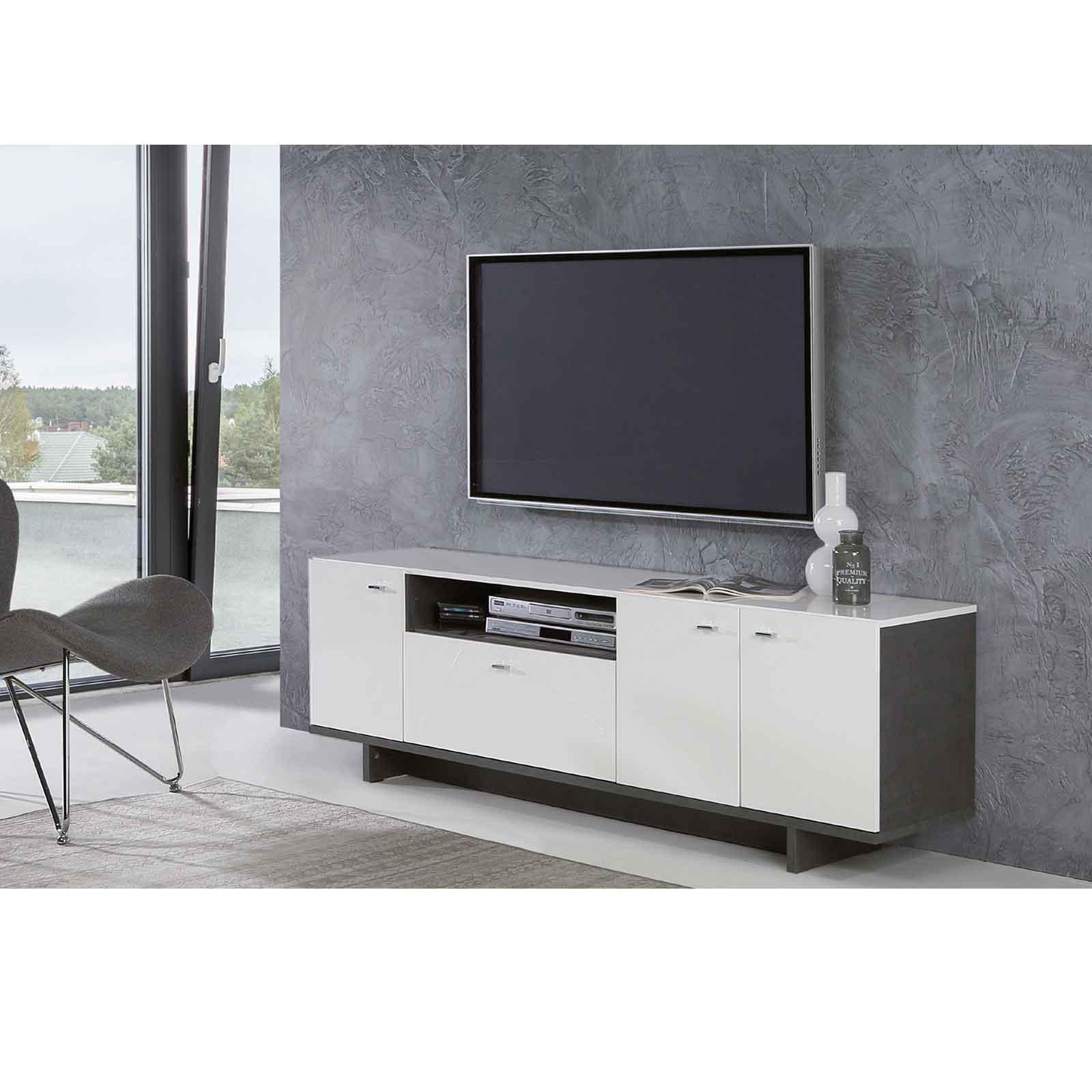 Tv Lowboard Weiss Hochglanz Beton Optik Online Bei Roller Kaufen