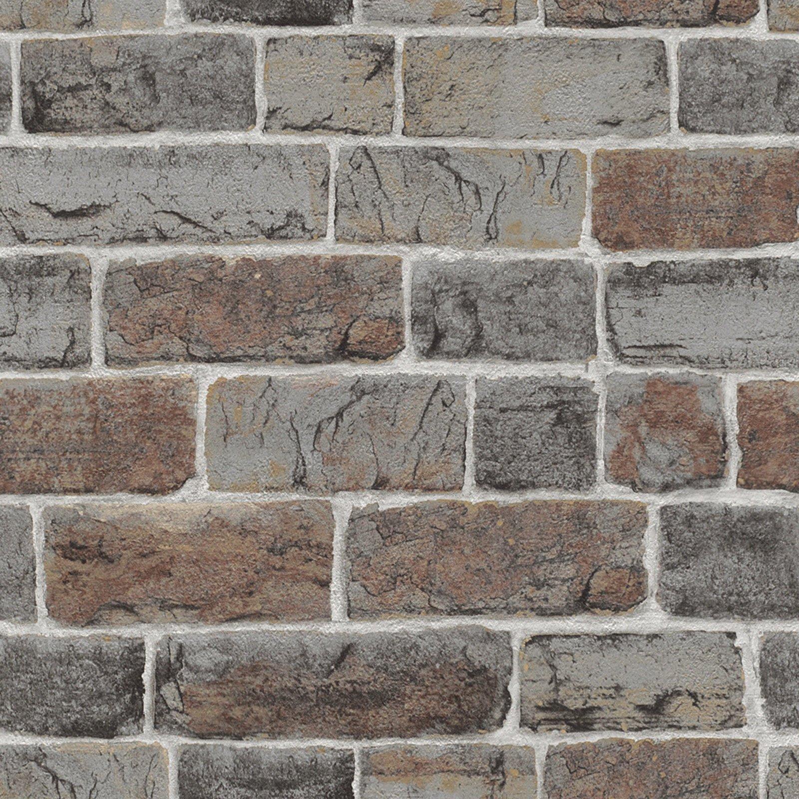 Papiertapete - Ziegelsteinmauer - taupe - 10 Meter