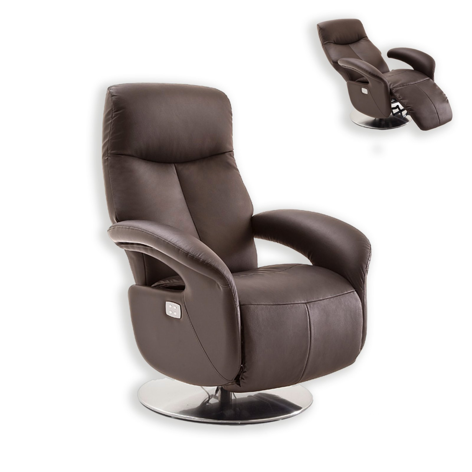 relaxstuhl braun mit funktionen fernseh relaxsessel sessel hocker m bel. Black Bedroom Furniture Sets. Home Design Ideas