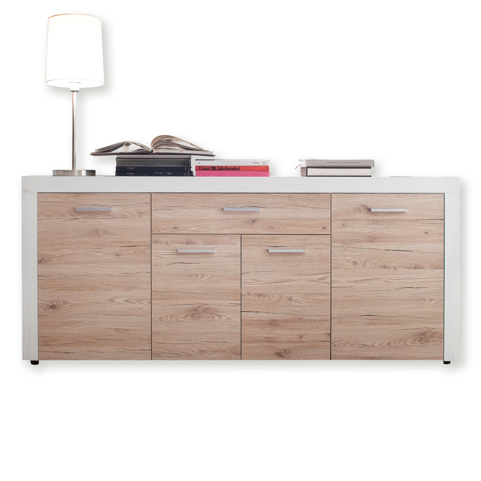 sideboard phoenix pinie wei sandeiche 177 cm kommoden sideboards m bel m belhaus. Black Bedroom Furniture Sets. Home Design Ideas