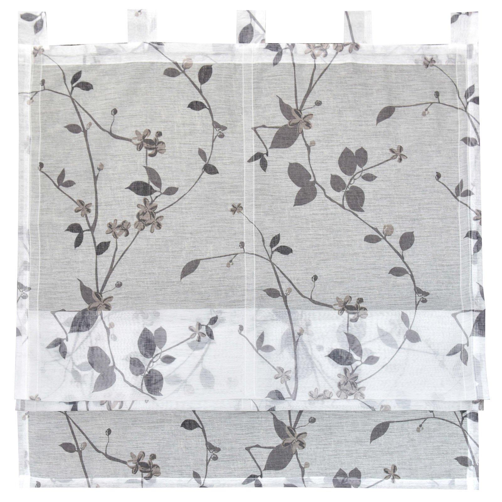 Raffrollo ROMA - weiß-grau - mit Blumen - 80x140 cm