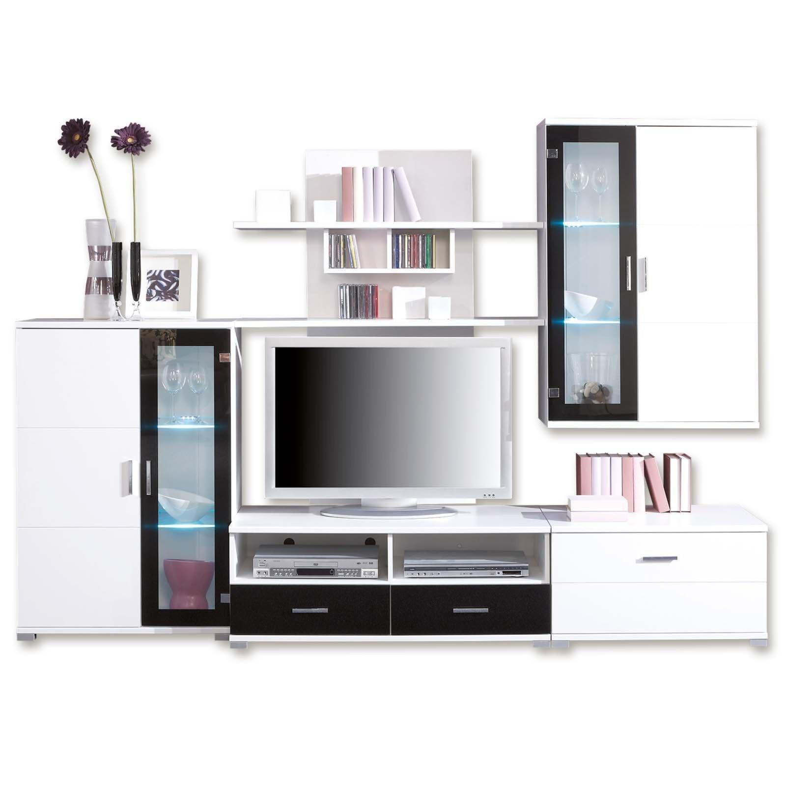 wohnwand libero wei schwarz mit led beleuchtung wohnw nde wohnw nde m bel roller. Black Bedroom Furniture Sets. Home Design Ideas