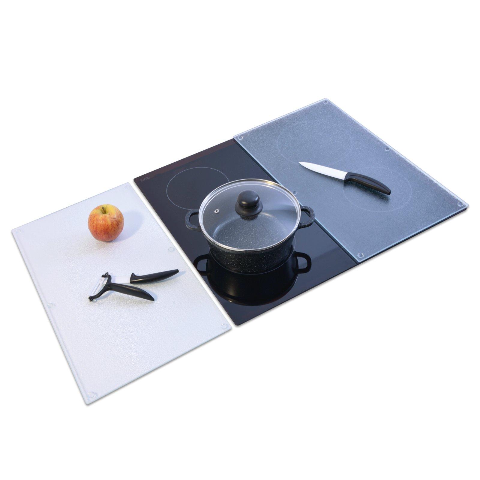 Herdabdeckplatten - Glas - gefrostet - 2er-Set