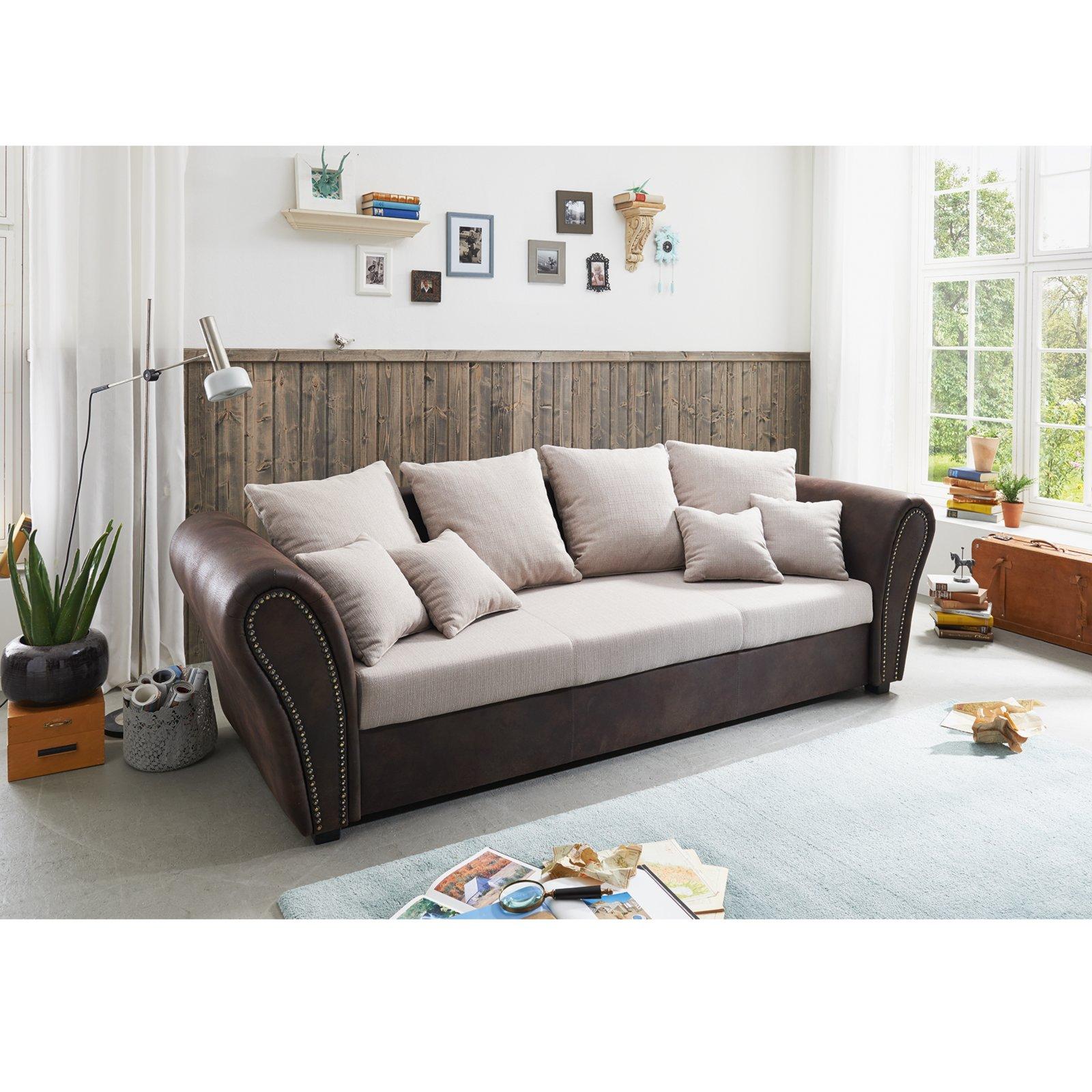 big sofa beige braun mit liegefunktion ebay. Black Bedroom Furniture Sets. Home Design Ideas