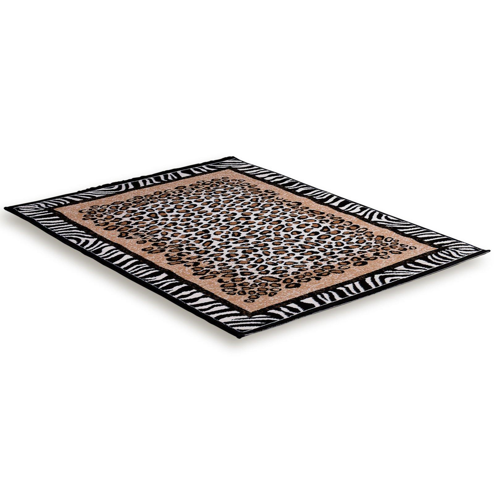teppich afrika zebra leopardenmuster 115x160 cm. Black Bedroom Furniture Sets. Home Design Ideas