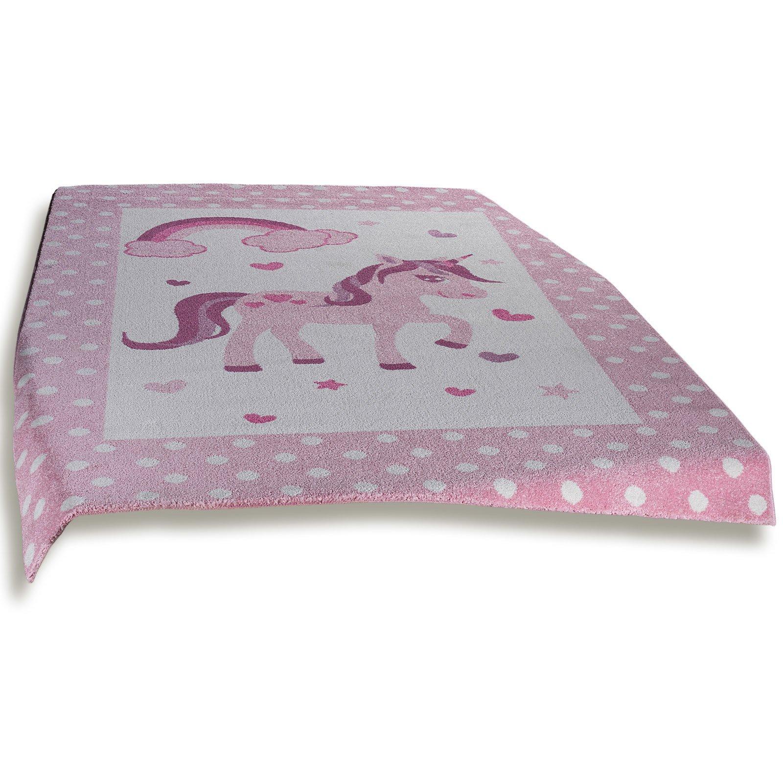 teppich little rainbow rosa 160x230 cm kinder spielteppiche teppiche l ufer deko. Black Bedroom Furniture Sets. Home Design Ideas