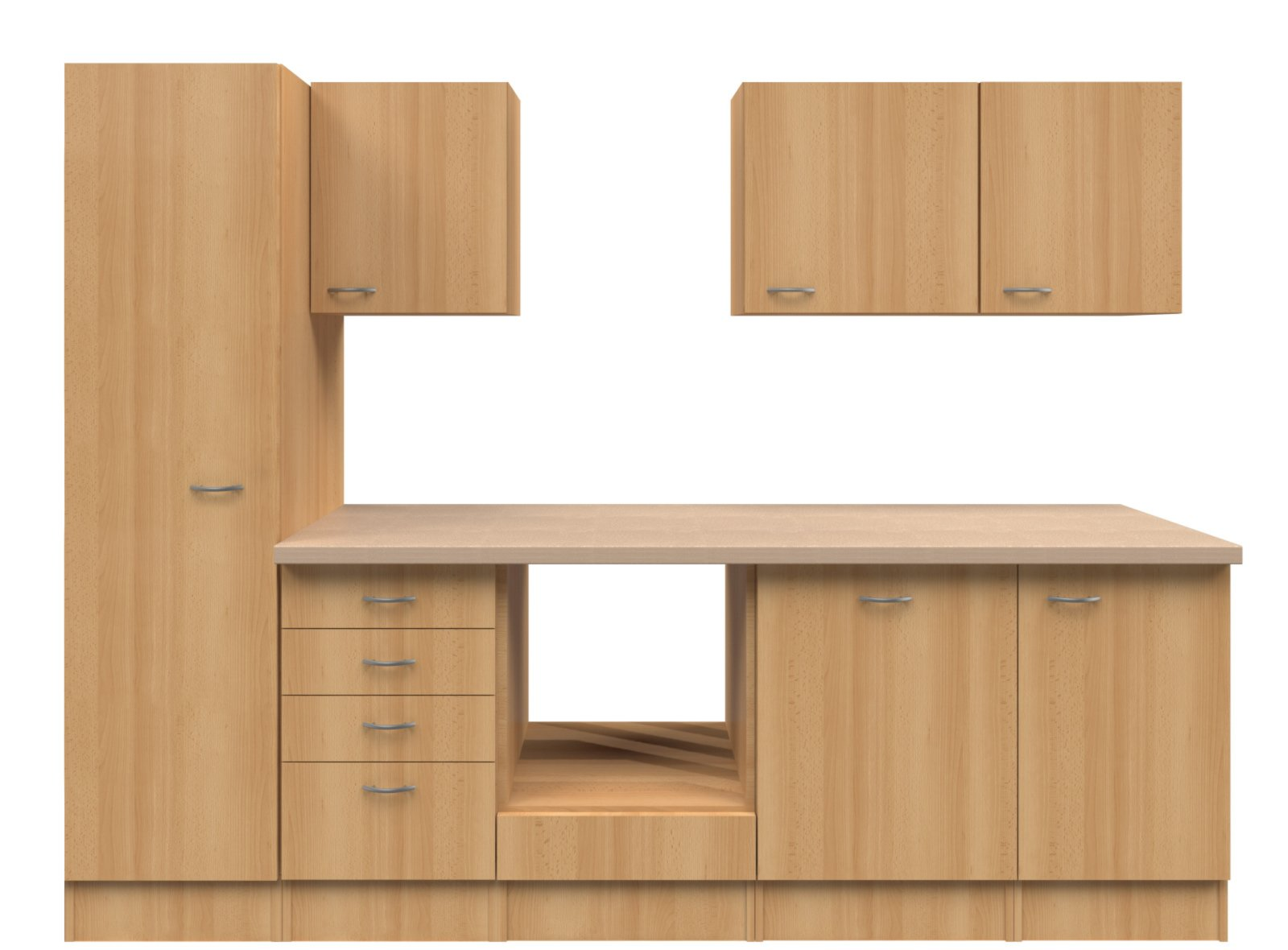 k chenblock nano buche 270 cm k chenzeilen ohne e. Black Bedroom Furniture Sets. Home Design Ideas