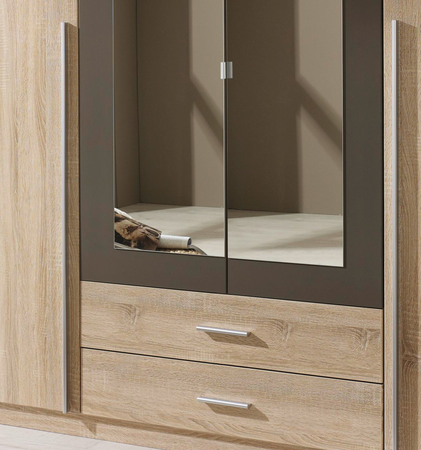 kleiderschrank krefeld sonoma eiche grau 181 cm ebay. Black Bedroom Furniture Sets. Home Design Ideas