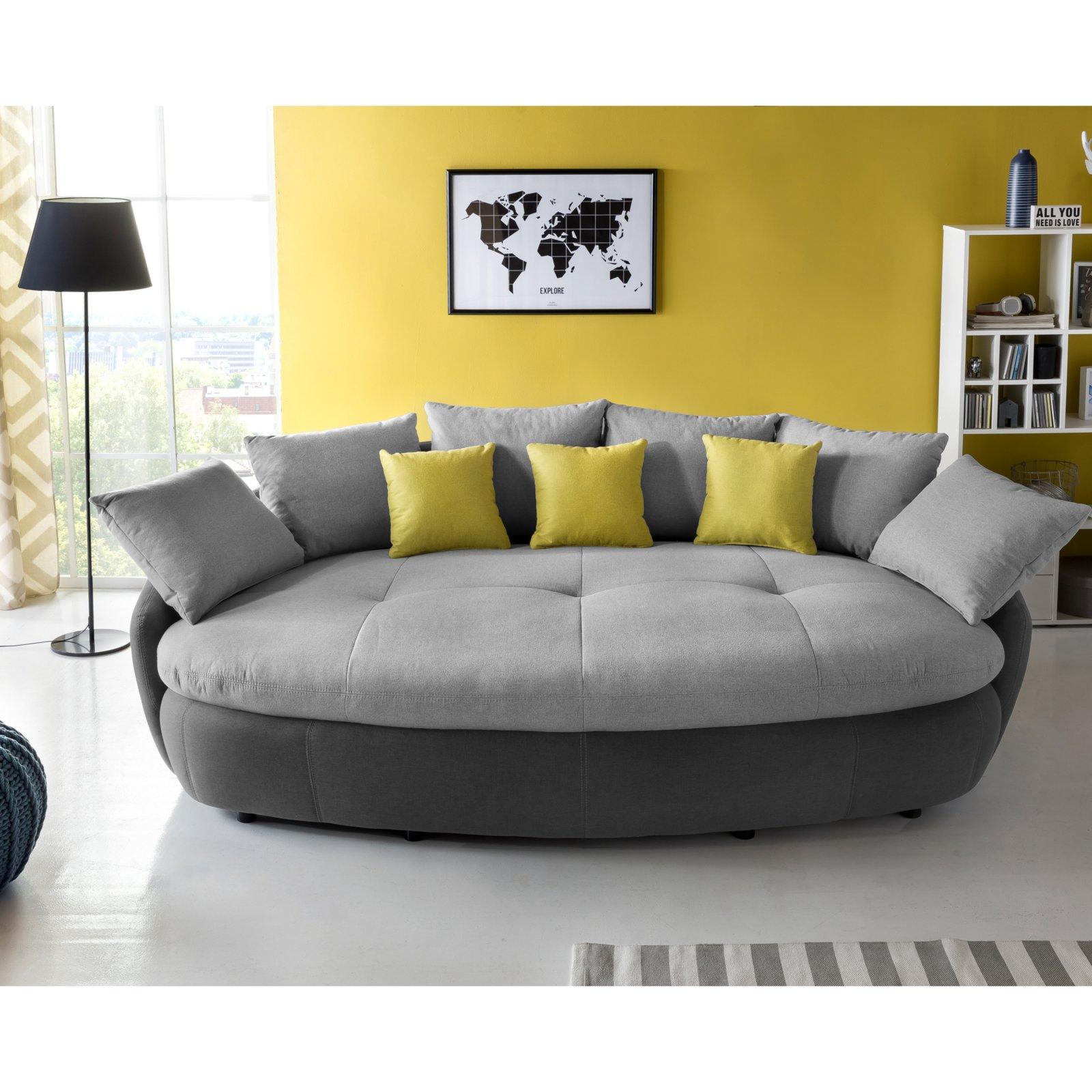 Big Sofa Hellgrau Dunkelgrau Mit Kissen