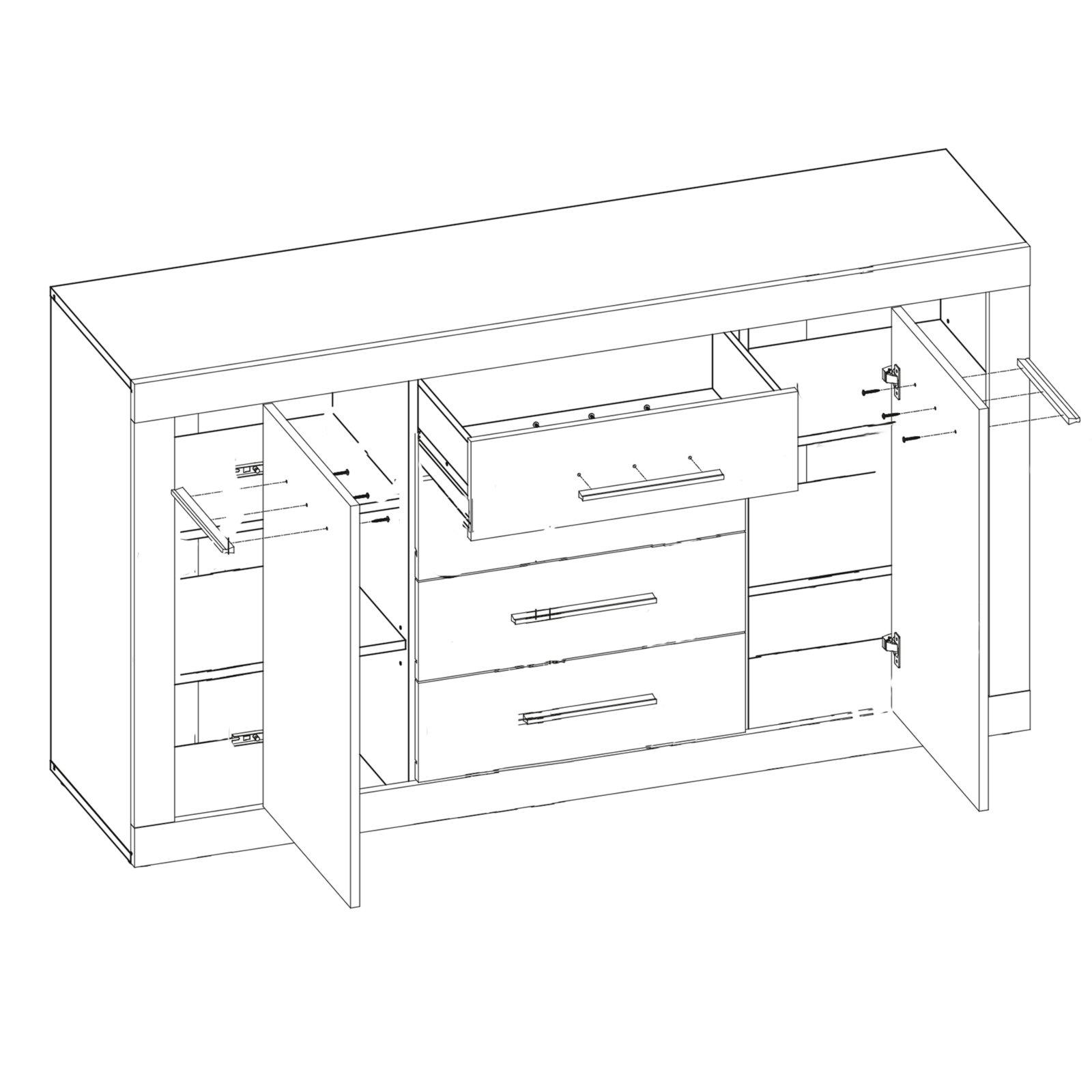 kommode jana sonoma eiche wei 155 cm ebay. Black Bedroom Furniture Sets. Home Design Ideas