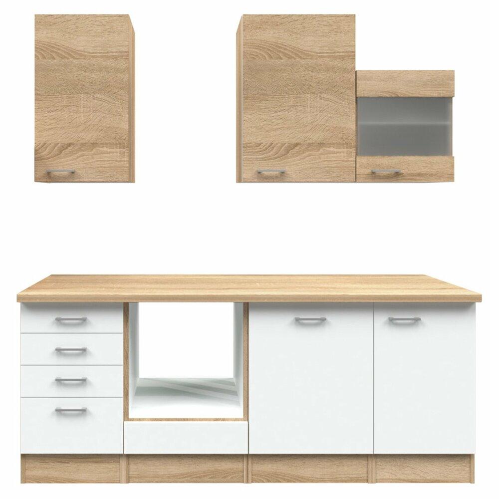 k chenblock samoa wei sonoma eiche 220 cm k chenzeilen ohne e ger te k chenzeilen. Black Bedroom Furniture Sets. Home Design Ideas