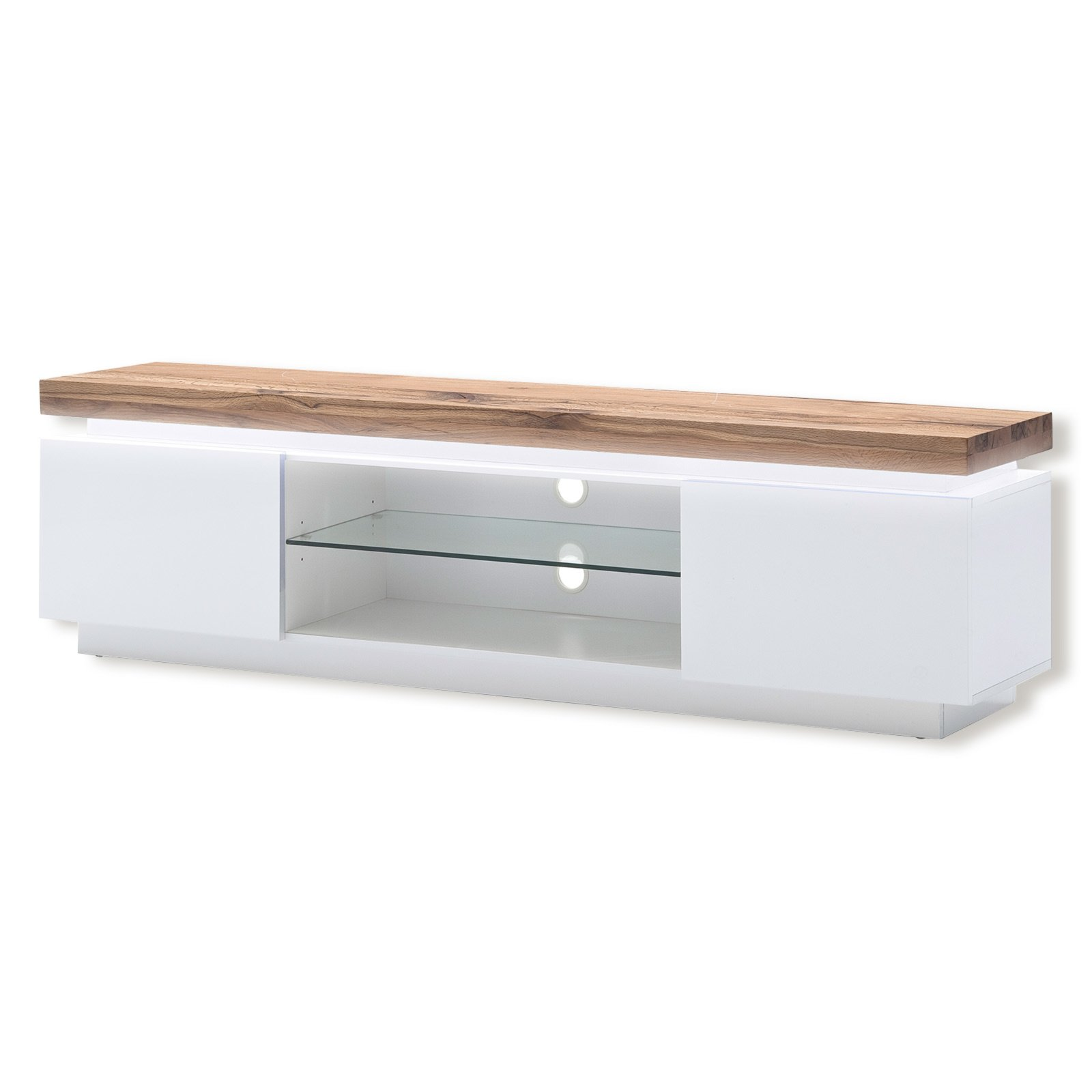 tv lowboard romina wei asteiche massiv led. Black Bedroom Furniture Sets. Home Design Ideas