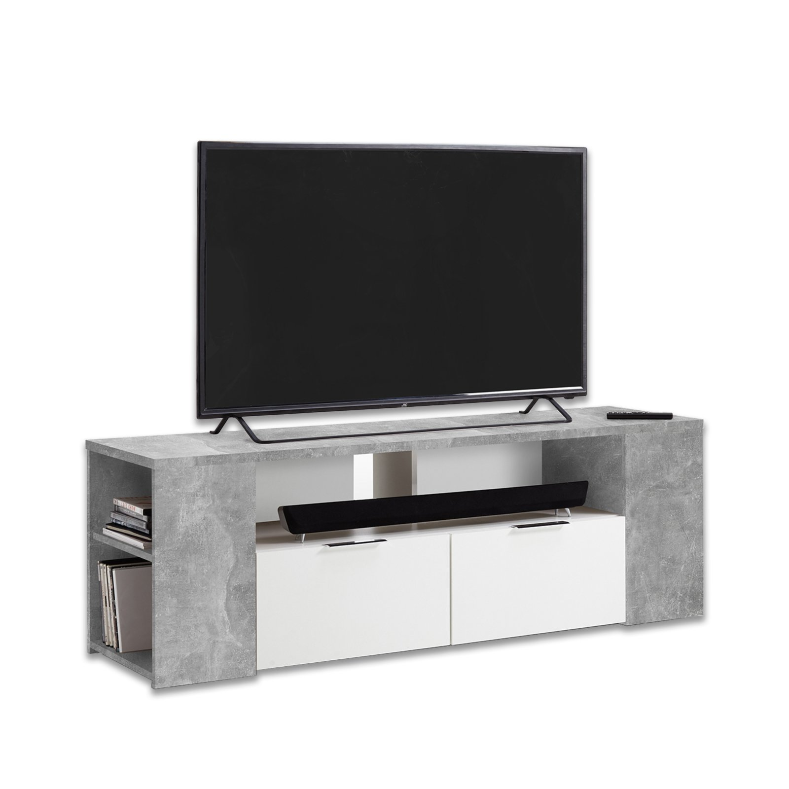 tv lowboard tabor beton wei 150 cm breit tv lowboards tv b nke tv hifi m bel m bel. Black Bedroom Furniture Sets. Home Design Ideas