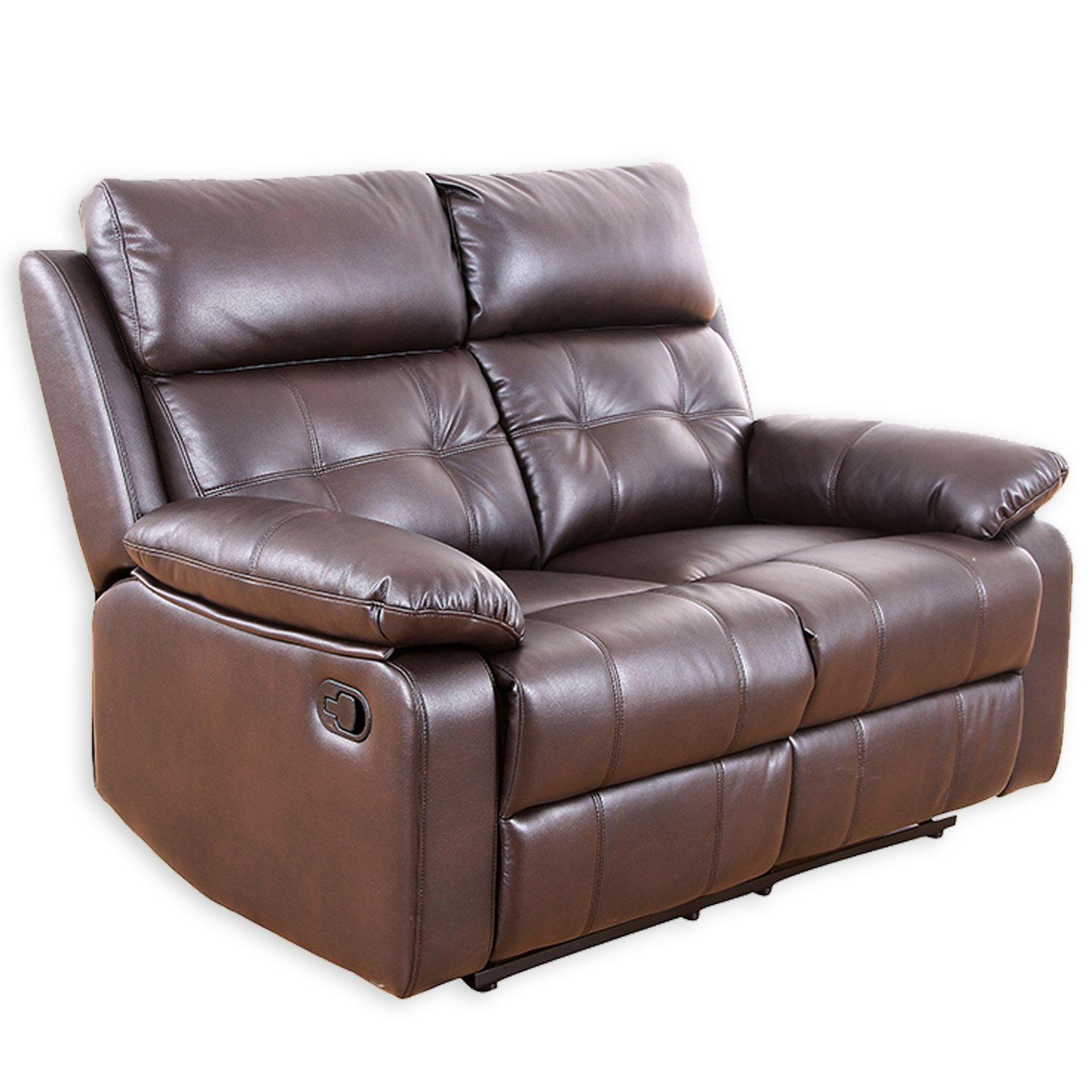 2 sitzer sofa dunkelbraun kunstleder relaxfunktion ebay. Black Bedroom Furniture Sets. Home Design Ideas