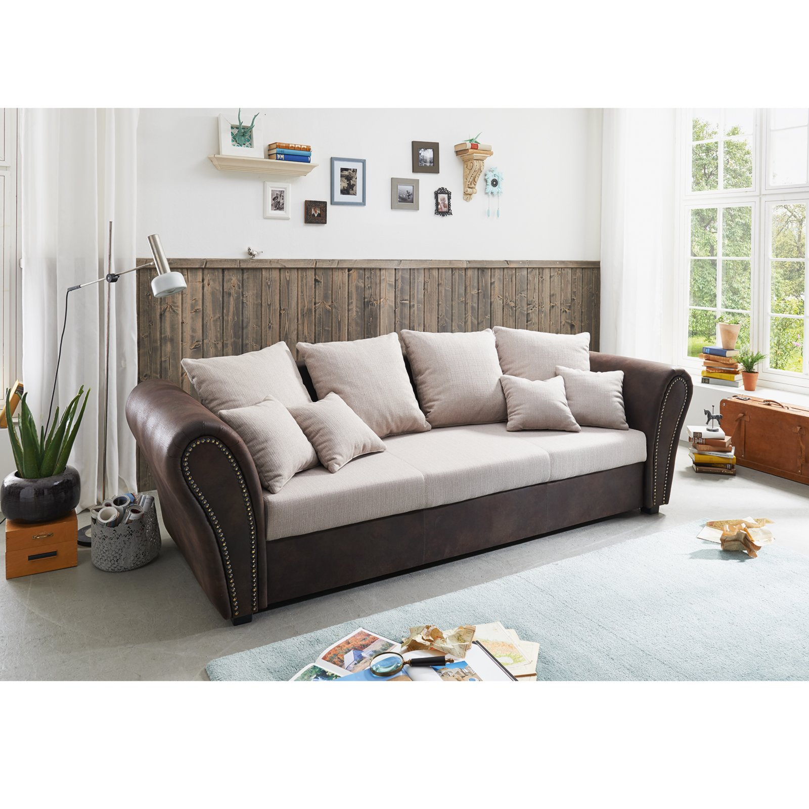 big sofa beige braun mit kissen ebay. Black Bedroom Furniture Sets. Home Design Ideas