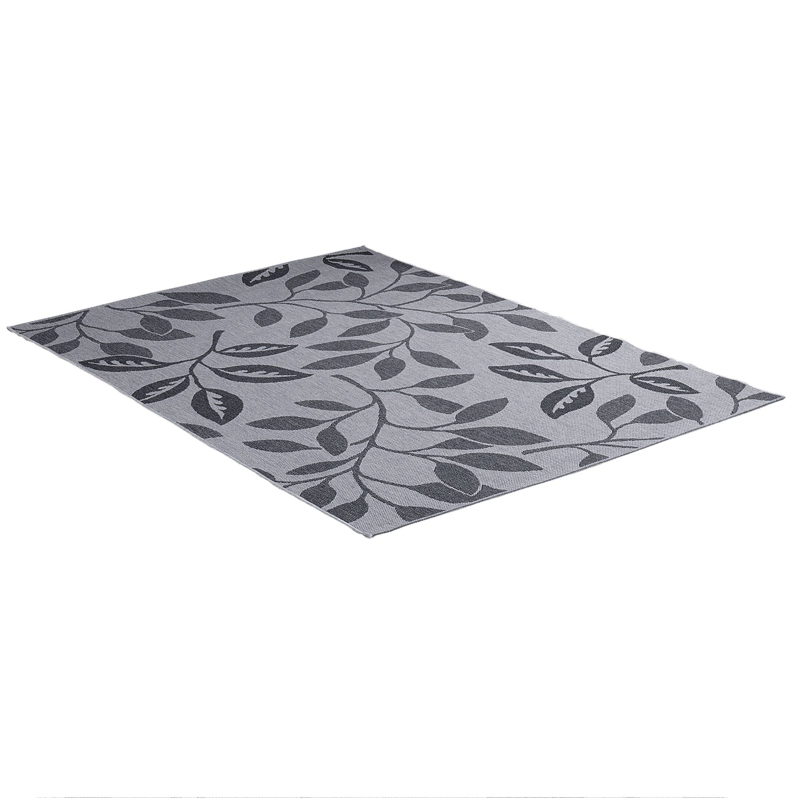 in outdoorteppich oslo grau bl tter 160x230 cm ebay. Black Bedroom Furniture Sets. Home Design Ideas