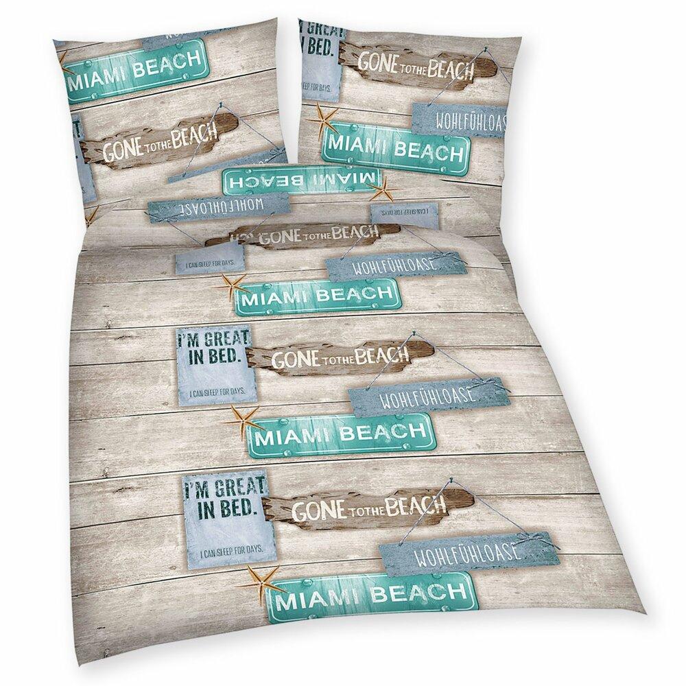 baumwoll bettw sche beach house 135x200 bettw sche bettw sche bettlaken. Black Bedroom Furniture Sets. Home Design Ideas
