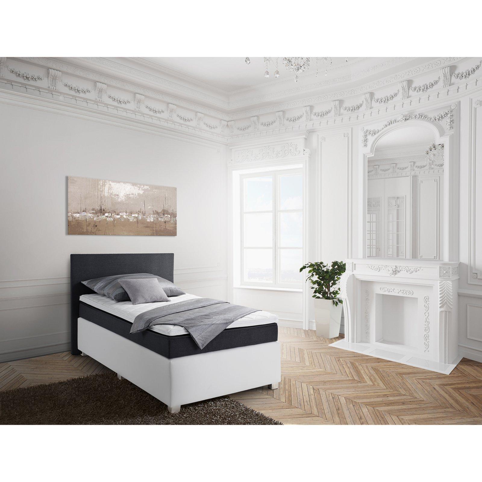 boxspringbett frederik wei anthrazit bonell federkern 100x200 cm ebay. Black Bedroom Furniture Sets. Home Design Ideas