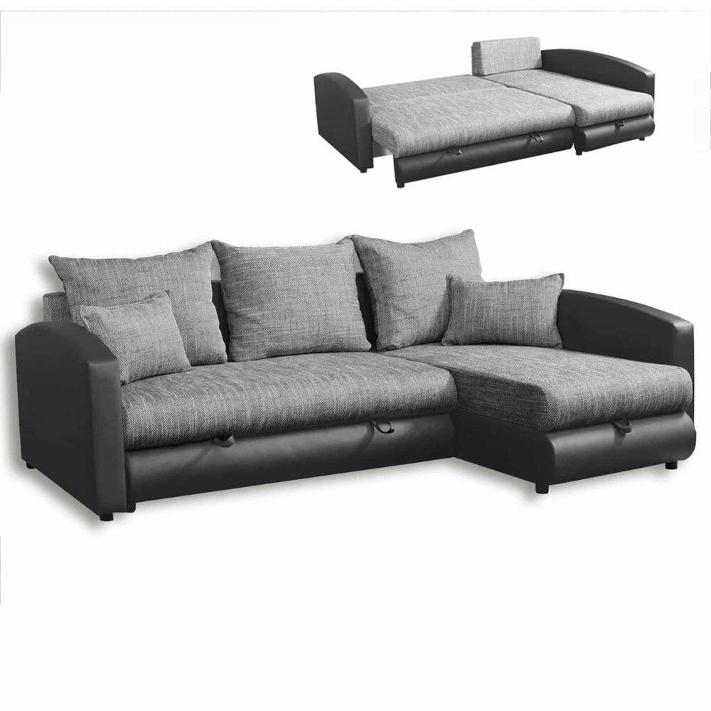 ecksofa anthrazit grau mit liegefunktion ecksofas l. Black Bedroom Furniture Sets. Home Design Ideas