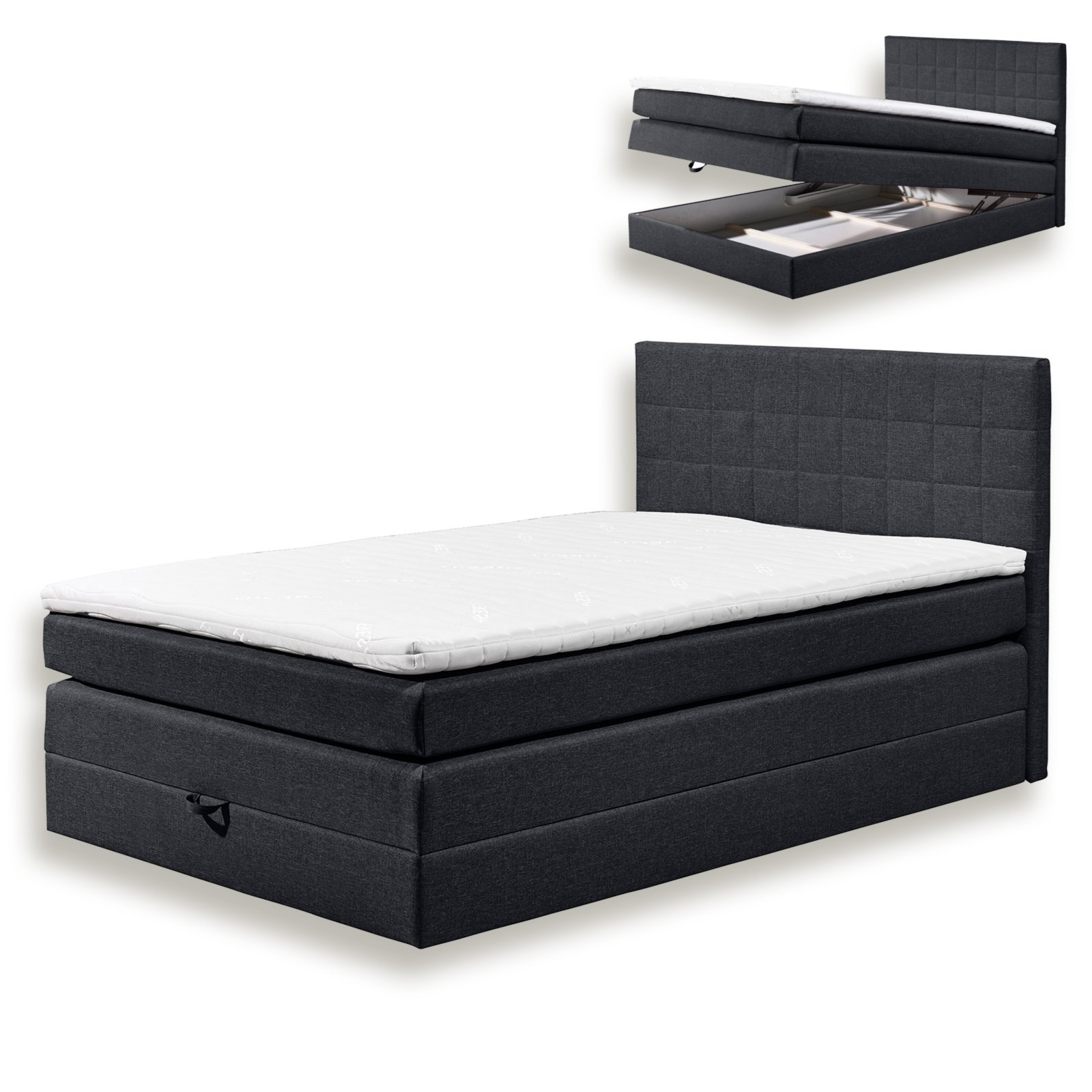 boxspringbett hawaii schwarz h2 140x200 cm. Black Bedroom Furniture Sets. Home Design Ideas